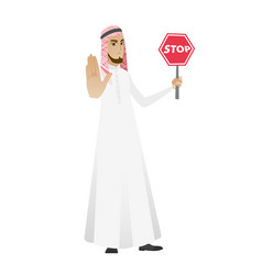Muslim businessman holding stop road sign vector
