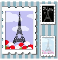 postage stamps with paris vector image vector image