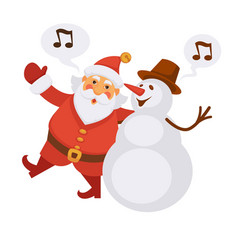 santa and snowman singing christmas song cartoon vector image