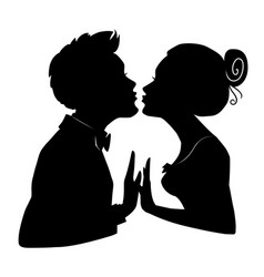 silhouettes of loving couple lovers kissing vector image