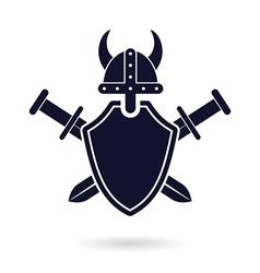Viking shield sword vector