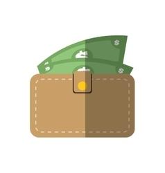 wallet bill money cash flat icon vector image vector image