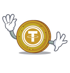 waving tether coin character cartoon vector image vector image