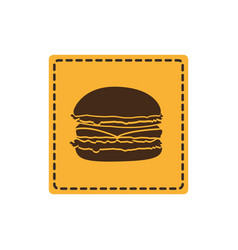Yellow emblem humburger icon vector