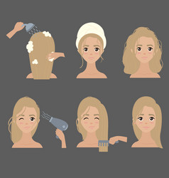 young girl treat wash and style her hair at home vector image