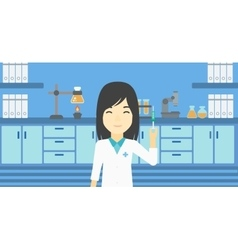 Laboratory assistant with syringe in lab vector