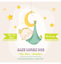 Baby boy sleeping on a moon - baby shower vector