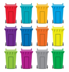 Recycling wheelie bin icons vector