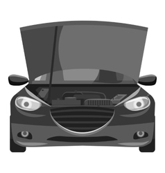 Car with open hood icon gray monochrome style vector