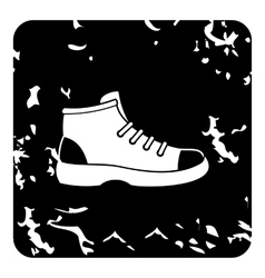 Hiking boot icon grunge style vector image
