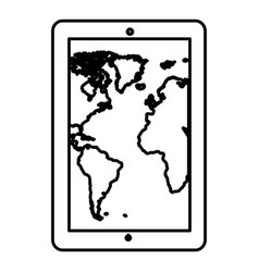 Monochrome contour tablet in vertical position and vector