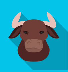 head of bull icon in flate style isolated on white vector image