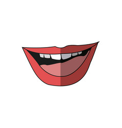 Mouth lips woman sensual open cartoon vector
