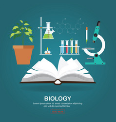 Biology laboratory workspace and science vector