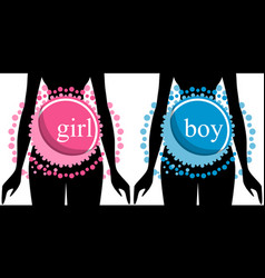 Set of two silhouettes of pregnant women vector