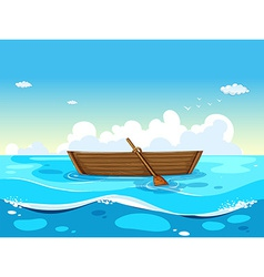 Boat and ocean vector