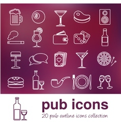 Pub outline icons vector