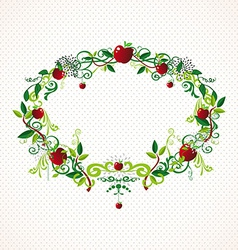Red apple wreath cute vector