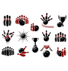 Bowling symbols with equipment and comics elements vector