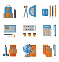 School utensils flat color icons vector