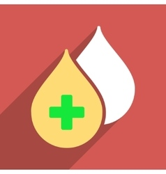 Medical drops flat longshadow square icon vector