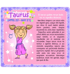 Taurus zodiac kid vector