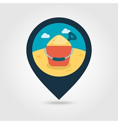 Sand bucket and shovel pin map icon summer vector