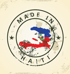 Stamp with map flag of haiti vector
