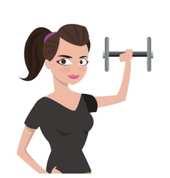 Woman with fitness outfit lifting dumbbell icon vector