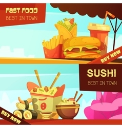 Fast food restaurant advertisement banners set vector