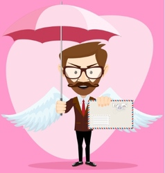 Angel man-hipster with an umbrella wings and vector