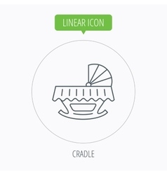 Baby cradle bed icon Crib or cot sign vector image