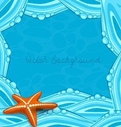 Blue background with ocean waves and starfish vector