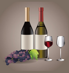 Bottle wine glass cups drink image vector