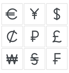 Currency icon collection vector