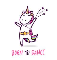 cute dancing unicorn cartoon vector image