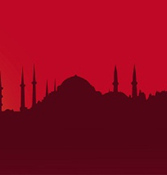 Dark contour Istanbul on a red background vector image