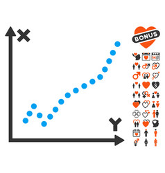 Function plot icon with valentine bonus vector