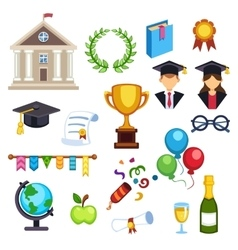Graduation education icons vector image