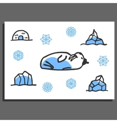 Greeting card template with cute doodle walrus vector