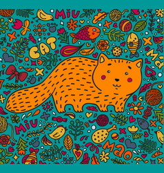 hand-drawn a fat red cat surrounded vector image vector image