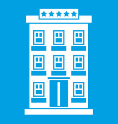 Hotel building icon white vector