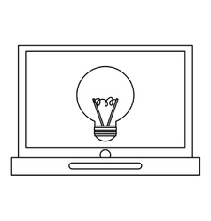 laptop with lightbulb vector image vector image