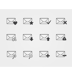Line black Email icons set vector image