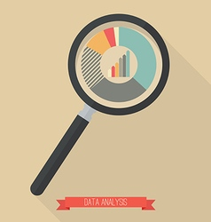 Magnifying glass and pie chart vector image