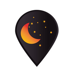 Mark icon pointer gps with moon and stars vector