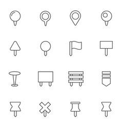 navigation pins icons set vector image