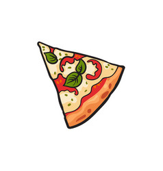 pizza slice flat isolated vector image