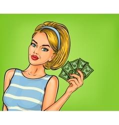 Pop art girl with cash vector