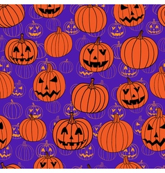 Purple and orange halloween seamless pattern with vector image